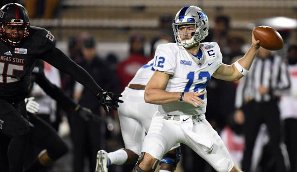 Dec 16, 2017; Montgomery, AL, USA; Middle Tennessee Blue Raiders quarterback Brent Stockstill (12) throws the ball against the Arkansas State Red Wolves during the first quarter in the 2017 Camellia Bowl at Cramton Bowl. Photo Credit: RVR Photos-USA TODAY Sports