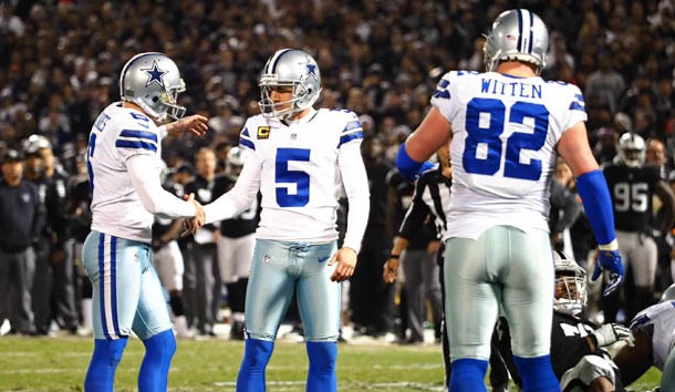 Dec 17, 2017; Oakland, CA, USA; Dallas Cowboys kicker Dan Bailey (5) shakes hands with punter Chris Jones (6) after scoring a field goal during the fourth quarter at Oakland Coliseum. Photo Credit: Kelley L Cox-USA TODAY Sports