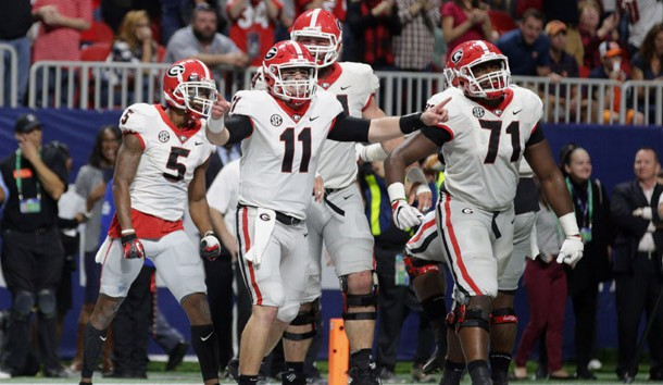 Dec 2, 2017; Atlanta, GA, USA;  Georgia Bulldogs quarterback Jake Fromm (11) celebrates after throwing a pass for a successful two point conversion to  wide receiver Terry Godwin (5) against the Auburn Tigers during the fourth quarter of the SEC Championship game at Mercedes-Benz Stadium. Photo Credit: Marvin Gentry-USA TODAY Sports
