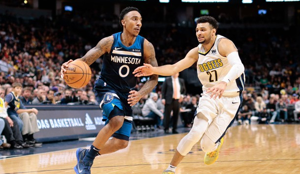 Dec 20, 2017; Denver, CO, USA; Denver Nuggets guard Jamal Murray (27) defends against Minnesota Timberwolves guard Jeff Teague (0) in the third quarter at the Pepsi Center. Photo Credit: Isaiah J. Downing-USA TODAY Sports