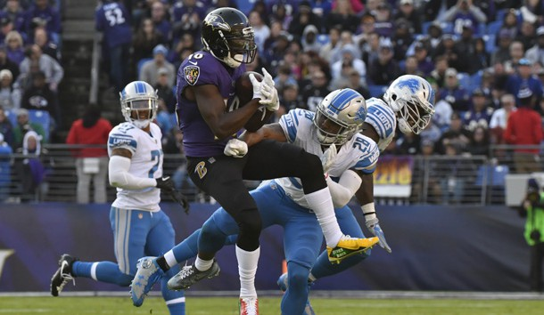 Dec 3, 2017; Baltimore, MD, USA;  Detroit Lions cornerback Quandre Diggs (28) hits Baltimore Ravens wide receiver Jeremy Maclin (18) after the catch during the second quarter at M&T Bank Stadium. Photo Credit: Tommy Gilligan-USA TODAY Sports