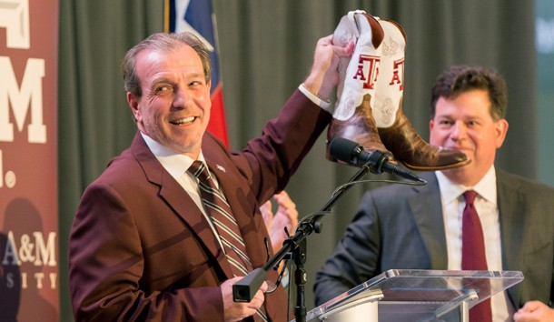 Dec 4, 2017; College Station, TX, USA; Texas A&M head coach Jimbo Fisher was gifted a pair of custom Texas A&M cowboy boots at the press conference held at the Hall of Champions in Kyle Field. Photo Credit: C. Morgan Engel-USA TODAY Sports