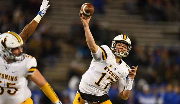 Nov 11, 2017; Colorado Springs, CO, USA; Wyoming Cowboys quarterback Josh Allen (17) attempts a pass in the first quarter against the Air Force Falcons at Falcon Stadium. Photo Credit: Ron Chenoy-USA TODAY Sports