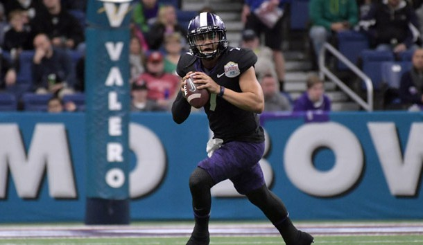 Dec 28, 2017; San Antonio, TX, United States; TCU Horned Frogs quarterback Kenny Hill (7) throws a pass against the Stanford Cardinal in the 2017 Alamo Bowl at Alamodome. Photo Credit: Kirby Lee-USA TODAY Sports