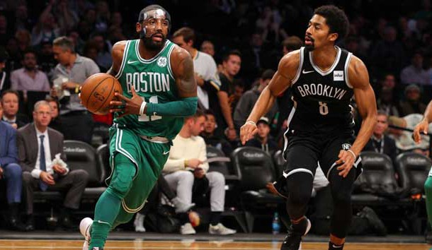 Nov 14, 2017; Brooklyn, NY, USA; Boston Celtics point guard Kyrie Irving (11) drives against Brooklyn Nets point guard Spencer Dinwiddie (8) during the third quarter at Barclays Center. Photo Credit: Brad Penner-USA TODAY Sports
