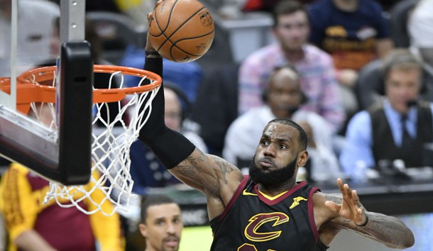 Dec 6, 2017; Cleveland, OH, USA; Cleveland Cavaliers forward LeBron James (23) drives to the basket against the Sacramento Kings in the second quarter at Quicken Loans Arena. Photo Credit: David Richard-USA TODAY Sports