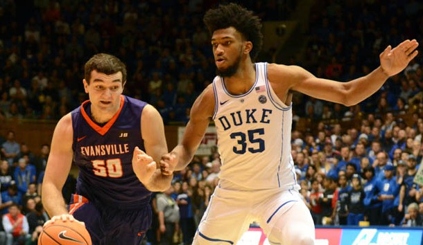 Dec 20, 2017; Durham, NC, USA; Evansville Purple Aces guard Blake Simmons (50) drives to the basket as Duke Blue Devils forward Marvin Bagley III (35) defends during the second half at Cameron Indoor Stadium. Photo Credit: Rob Kinnan-USA TODAY Sports