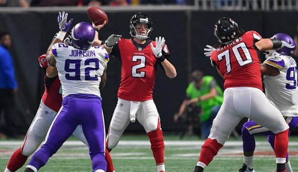 Dec 3, 2017; Atlanta, GA, USA; Atlanta Falcons quarterback Matt Ryan (2) passes against the Minnesota Vikings during the first quarter at Mercedes-Benz Stadium. Photo Credit: Dale Zanine-USA TODAY Sports