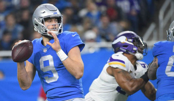 Nov 23, 2017; Detroit, MI, USA; Detroit Lions quarterback Matthew Stafford (9) drops back to pass during the first quarter against the Minnesota Vikings at Ford Field. Photo Credit: Tim Fuller-USA TODAY Sports
