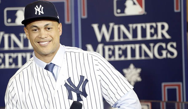 Dec 11, 2017; Orlando, FL, USA; New York Yankees outfielder Giancarlo Stanton (27) is interview by MLB network during the winter meetings at Walt Disney World Swan and Dolphin Resort. Photo Credit: Kim Klement-USA TODAY Sports