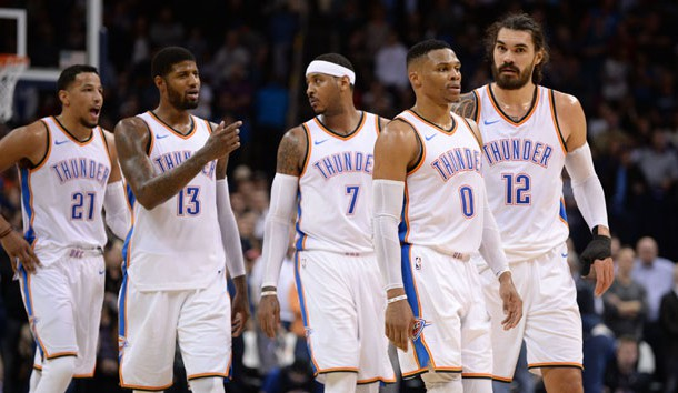 Dec 5, 2017; Oklahoma City, OK, USA; Oklahoma City Thunder guard Andre Roberson (21) forward Paul George (13) forward Carmelo Anthony (7) guard Russell Westbrook (0) and center Steven Adams (12) take the court after a timeout in action against the Utah Jazz during the fourth quarter at Chesapeake Energy Arena. Photo Credit: Mark D. Smith-USA TODAY Sports