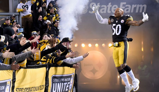 Nov 26, 2017; Pittsburgh, PA, USA; Pittsburgh Steelers linebacker Ryan Shazier (50) takes the field before playing the Green Bay Packers at Heinz Field.  Photo Credit: Philip G. Pavely-USA TODAY Sports