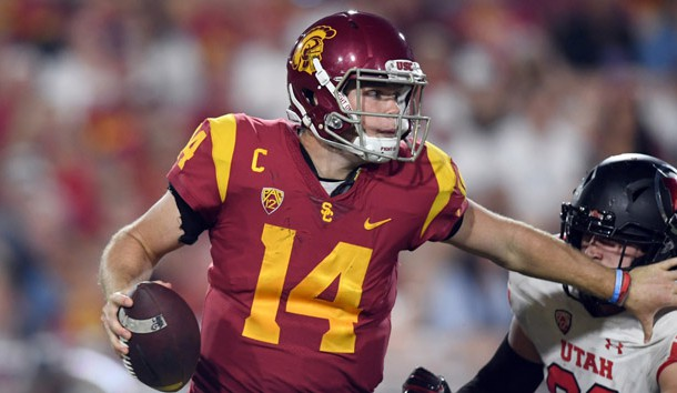 Oct 14, 2017; Los Angeles, CA, USA; Southern California Trojans quarterback Sam Darnold (14) is pressured by Utah Utes defensive tackle Lowell Lotulelei (93) during an NCAA football game at Los Angeles Memorial Coliseum.  Photo Credit: Kirby Lee-USA TODAY Sports
