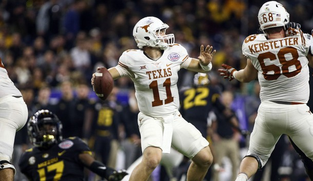 Dec 27, 2017; Houston, TX, USA; Texas Longhorns quarterback Sam Ehlinger (11) throws the ball during the second half against the Missouri Tigers in the 2017 Texas Bowl at NRG Stadium. Photo Credit: Troy Taormina-USA TODAY Sports