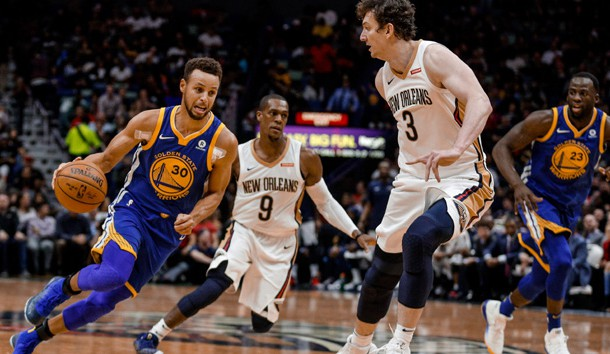 Dec 4, 2017; New Orleans, LA, USA; Golden State Warriors guard Stephen Curry (30) drives past New Orleans Pelicans center Omer Asik (3) during the second quarter at the Smoothie King Center. Photo Credit: Derick E. Hingle-USA TODAY Sports