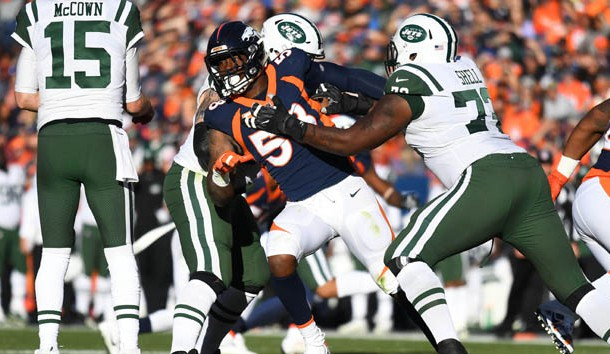 Dec 10, 2017; Denver, CO, USA; New York Jets offensive tackle Brandon Shell (72) blocks on Denver Broncos outside linebacker Von Miller (58) in the first half at Sports Authority Field at Mile High. Photo Credit: Ron Chenoy-USA TODAY Sports