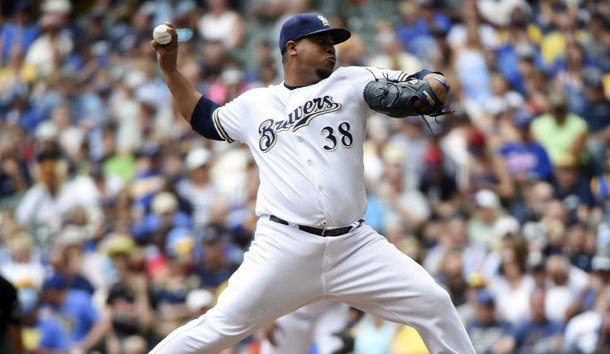 Jun 8, 2017; Milwaukee, WI, USA; Milwaukee Brewers pitcher Wily Peralta (38) pitches in the sixth inning against the San Francisco Giants at Miller Park. Photo Credit: Benny Sieu-USA TODAY Sports