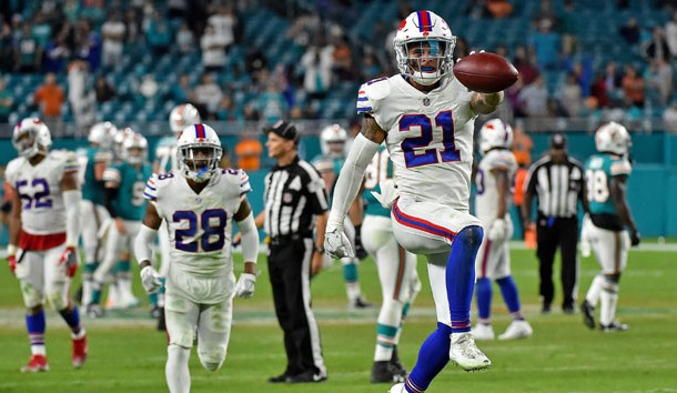 Dec 31, 2017; Miami Gardens, FL, USA; Buffalo Bills free safety Jordan Poyer (21) celebrates after intercepting a pass from Miami Dolphins quarterback David Fales (9) during the second half at Hard Rock Stadium. Photo Credit: Jasen Vinlove-USA TODAY Sports