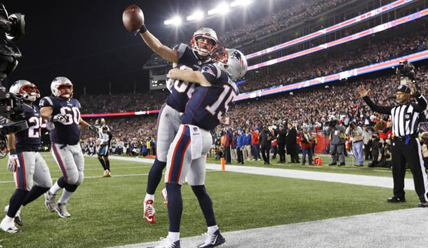 Jan 21, 2018; Foxborough, MA, USA; New England Patriots wide receiver Danny Amendola (80) celebrates his touchdown with wide receiver Chris Hogan (15) during the fourth quarter against the Jacksonville Jaguars in the AFC Championship Game at Gillette Stadium. Photo Credit: Greg M. Cooper-USA TODAY Sports