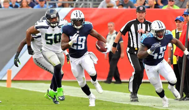 Sep 24, 2017; Nashville, TN, USA; Tennessee Titans running back DeMarco Murray (29) breaks a Seattle Seahawks tackle and rushes for 75 yards for a touchdown during the second half at Nissan Stadium. Photo Credit: Jim Brown-USA TODAY Sports