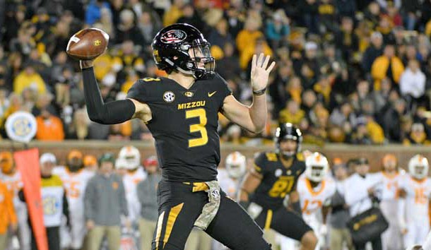 Nov 11, 2017; Columbia, MO, USA; Missouri Tigers quarterback Drew Lock (3) throws a pass during the first half against the Tennessee Volunteers at Faurot Field. Photo Credit: Denny Medley-USA TODAY Sports