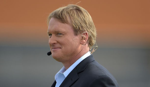 Jan 23, 2015; Scottsdale, AZ, USA; ESPN broadcaster and Tampa Bay Buccaneers and Oakland Raiders former coach Jon Gruden at Team Irvin practice at Scottsdale Community College in advance of the 2015 Pro Bowl. Photo Credit: Kirby Lee-USA TODAY Sports