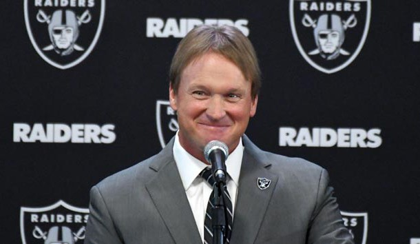 Jan 9, 2018; Alameda, CA, USA; Jon Gruden is introduced as head coach at a press conference at the Oakland Raiders headquarters Photo Credit: Kirby Lee-USA TODAY Sports