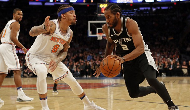 Jan 2, 2018; New York, NY, USA; San Antonio Spurs forward Kawhi Leonard (2) drives to the basket past New York Knicks forward Michael Beasley (8) during the second half at Madison Square Garden. Photo Credit: Adam Hunger-USA TODAY Sports