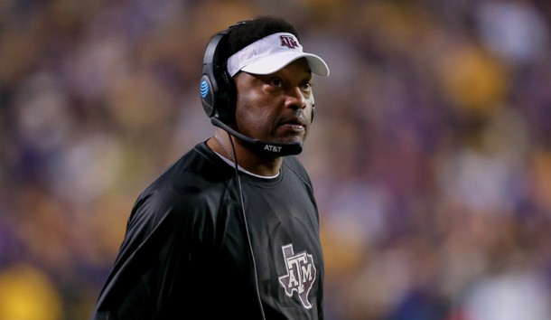 Nov 25, 2017; Baton Rouge, LA, USA;  Texas A&M Aggies head coach Kevin Sumlin looks at the scoreboard during the game against the LSU Tigers at Tiger Stadium. Photo Credit: Stephen Lew-USA TODAY Sports