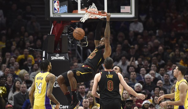 Dec 14, 2017; Cleveland, OH, USA; Cleveland Cavaliers forward LeBron James (23) dunks in the first quarter against the Los Angeles Lakers at Quicken Loans Arena. Photo Credit: David Richard-USA TODAY Sports