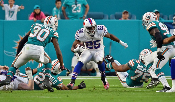 Dec 31, 2017; Miami Gardens, FL, USA; Buffalo Bills running back LeSean McCoy (25) runs the ball against the Miami Dolphins during the first half at Hard Rock Stadium. Photo Credit: Jasen Vinlove-USA TODAY Sports