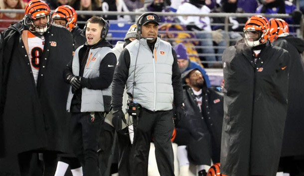 Dec 31, 2017; Baltimore, MD, USA; Cincinnati Bengals head coach Marvin Lewis on the sidelines during the game against the Baltimore Ravens at M&T Bank Stadium. Photo Credit: Mitch Stringer-USA TODAY Sports