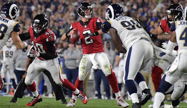 Jan 6, 2018; Los Angeles, CA, USA; Atlanta Falcons quarterback Matt Ryan (2) passes against the Los Angeles Rams in the first quarter in the NFC Wild Card playoff football game at Los Angeles Memorial Coliseum. Mandatory Credit: Kirby Lee-USA TODAY Sports