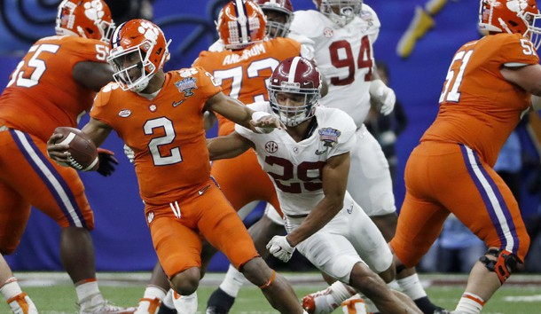 Jan 1, 2018; New Orleans, LA, USA; Clemson Tigers quarterback Kelly Bryant (2) rolls away from Alabama Crimson Tide defensive back Minkah Fitzpatrick (29) during the second quarter the 2018 Sugar Bowl college football playoff semifinal game at Mercedes-Benz Superdome. Photo Credit: Greg M. Cooper-USA TODAY Sports