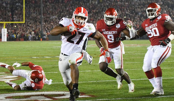 Jan 1, 2018; Pasadena, CA, USA; Georgia Bulldogs running back Nick Chubb (27) runs in a touchdown against the Oklahoma Sooners in the fourth quarter in the 2018 Rose Bowl college football playoff semifinal game at Rose Bowl Stadium. Photo Credit: Jayne Kamin-Oncea-USA TODAY Sports