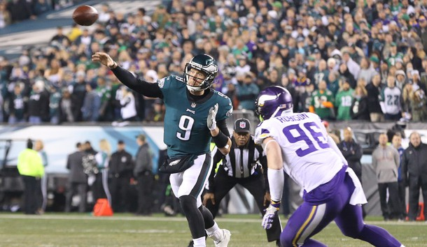 Jan 21, 2018; Philadelphia, PA, USA; Philadelphia Eagles quarterback Nick Foles (9) throws the ball past Minnesota Vikings defensive end Brian Robison (96) in the second quarter during the NFC Championship game at Lincoln Financial Field. Photo Credit: Geoff Burke-USA TODAY Sports
