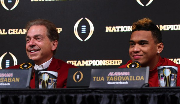 Jan 9, 2018; Atlanta, GA, USA; Alabama head coach Nick Saban jokes with Alabama quarterback Tua Tagovailoa (13) during a press conference at the [ENTER VENUE]. Photo Credit: Butch Dill-USA TODAY Sports