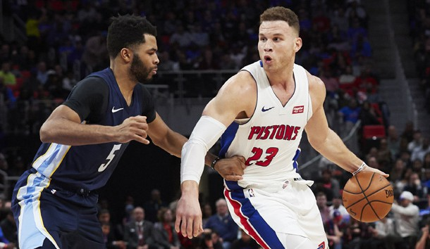 Feb 1, 2018; Detroit, MI, USA; Detroit Pistons forward Blake Griffin (23) dribbles defended by Memphis Grizzlies guard Andrew Harrison (5) in the second half at Little Caesars Arena. Photo Credit: Rick Osentoski-USA TODAY Sports