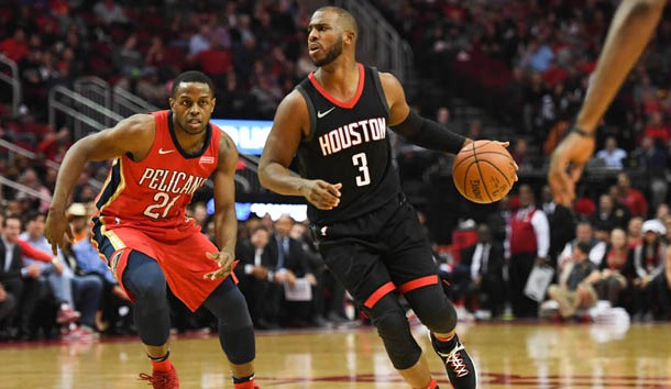 Dec 11, 2017; Houston, TX, USA; Houston Rockets guard Chris Paul (3) drives past New Orleans Pelicans forward Darius Miller (21) during the second quarter at Toyota Center. Photo Credit: Shanna Lockwood-USA TODAY Sports