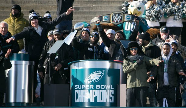 "Feb 8, 2018; Philadelphia , PA, USA; The Eagles team sing ""Fly Eagles Fly"". Thousands gather around the Rocky steps of the Philadelphia Museum of Art as the Super Bowl LII Champions Philadelphia Eagles parade down Broad Street ending at the art museum in Philadelphia. Photo Credit: Suchat Pederson/The News Journal via USA TODAY NETWORK"