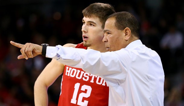 Jan 31, 2018; Highland Heights, KY, USA; Houston Cougars guard Wes VanBeck (12) talks with head coach Kelvin Sampson against the Cincinnati Bearcats at BB&T Arena. Photo Credit: Aaron Doster-USA TODAY Sports