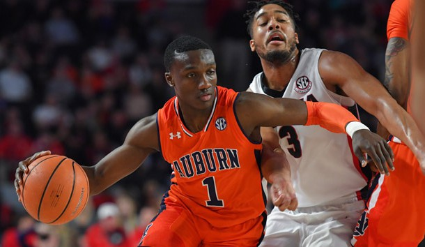 Feb 10, 2018; Athens, GA, USA; Auburn Tigers guard Jared Harper (1) dribbles past Georgia Bulldogs guard Juwan Parker (3) during the first half at Stegeman Coliseum. Photo Credit: Dale Zanine-USA TODAY Sports