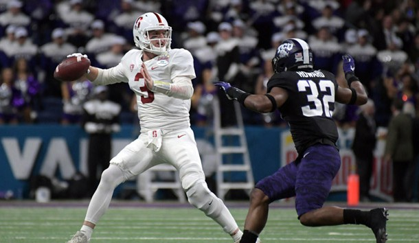 Dec 28, 2017; San Antonio, TX, United States; Stanford Cardinal quarterback K.J. Costello (3) throws a pass under pressure from TCU Horned Frogs linebacker Travin Howard (32) in the 2017 Alamo Bowl at Alamodome. Photo Credit: Kirby Lee-USA TODAY Sports