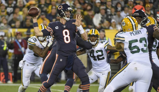 Sep 28, 2017; Green Bay, WI, USA; Chicago Bears quarterback Mike Glennon (8) attempts a pass in the second quarter during the game against the Green Bay Packers at Lambeau Field. Photo Credit: Benny Sieu-USA TODAY Sports