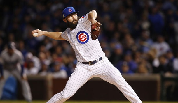 Oct 18, 2017; Chicago, IL, USA; Chicago Cubs starting pitcher Jake Arrieta throws a pitch against the Los Angeles Dodgers during the first inning in game four of the 2017 NLCS playoff baseball series at Wrigley Field. Photo Credit: Jim Young-USA TODAY Sports