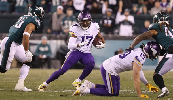 Jan 21, 2018; Philadelphia, PA, USA; Minnesota Vikings wide receiver Jarius Wright (17) carries the ball in the second quarter during the NFC Championship game against the Philadelphia Eagles at Lincoln Financial Field. Photo Credit: Bill Streicher-USA TODAY Sports