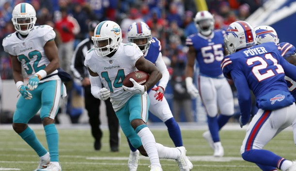 Dec 17, 2017; Orchard Park, NY, USA; Miami Dolphins wide receiver Jarvis Landry (14) runs the ball after a catch during the first half against the Buffalo Bills at New Era Field. Photo Credit: Timothy T. Ludwig-USA TODAY Sports