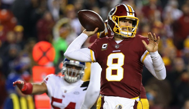 Nov 23, 2017; Landover, MD, USA; Washington Redskins quarterback Kirk Cousins (8) passes the ball in front of New York Giants defensive end Olivier Vernon (54) in the first quarter at FedEx Field. Photo Credit: Geoff Burke-USA TODAY Sports