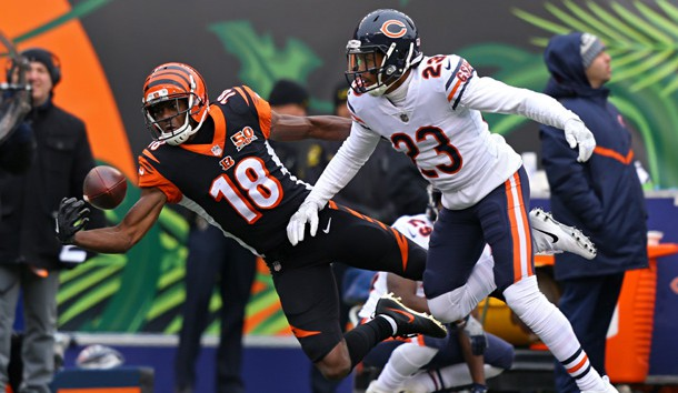 Dec 10, 2017; Cincinnati, OH, USA; Cincinnati Bengals wide receiver A.J. Green (18) is unable to makes a catch against Chicago Bears cornerback Kyle Fuller (23) in the first half at Paul Brown Stadium. Photo Credit: Aaron Doster-USA TODAY Sports