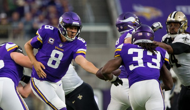 Sep 11, 2017; Minneapolis, MN, USA; Minnesota Vikings quarterback Sam Bradford (8) hands the ball off to running back Dalvin Cook (33) in the second quarter against the New Orleans Saints at U.S. Bank Stadium. Photo Credit: Brad Rempel-USA TODAY Sports
